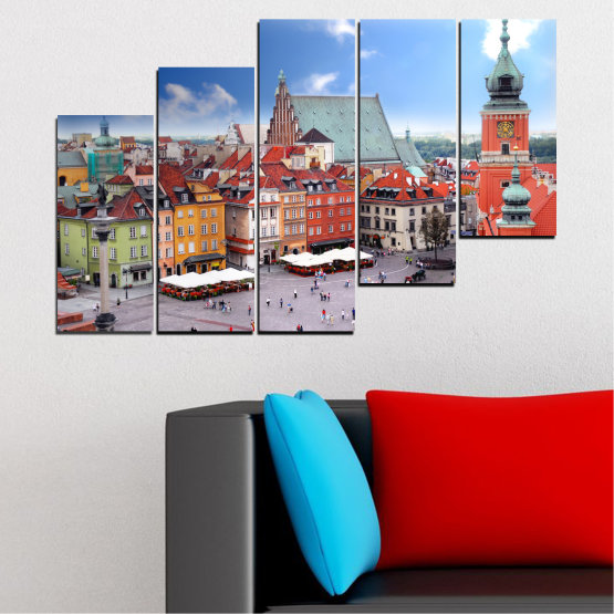 Canvas prints & wall decorative panels - 5 pieces №0131 » Blue, Gray, Dark grey » City, Capital, Austria Form #8