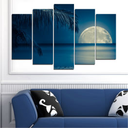 Sea, Water, Ocean, Seaside, Night, Palm » Purple, Blue, Black