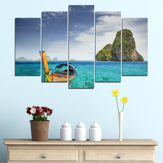 Canvas prints & wall decorative panels - 5 pieces №0133 » Blue, Turquoise, Gray, Dark grey » Sea, Sky, Ocean, Seaside, Rocks, Boat Form #1