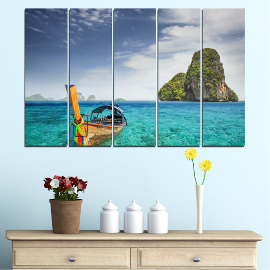 Canvas prints & wall decorative panels - 5 pieces №0133 » Blue, Turquoise, Gray, Dark grey » Sea, Sky, Ocean, Seaside, Rocks, Boat Form #2