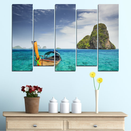 Canvas prints & wall decorative panels - 5 pieces №0133 » Blue, Turquoise, Gray, Dark grey » Sea, Sky, Ocean, Seaside, Rocks, Boat Form #3
