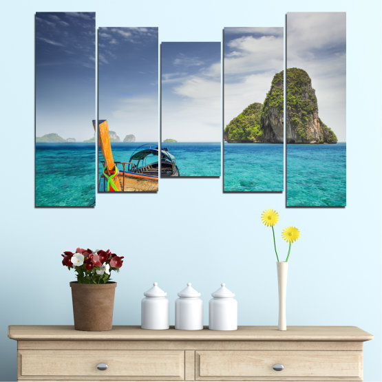 Canvas prints & wall decorative panels - 5 pieces №0133 » Blue, Turquoise, Gray, Dark grey » Sea, Sky, Ocean, Seaside, Rocks, Boat Form #4
