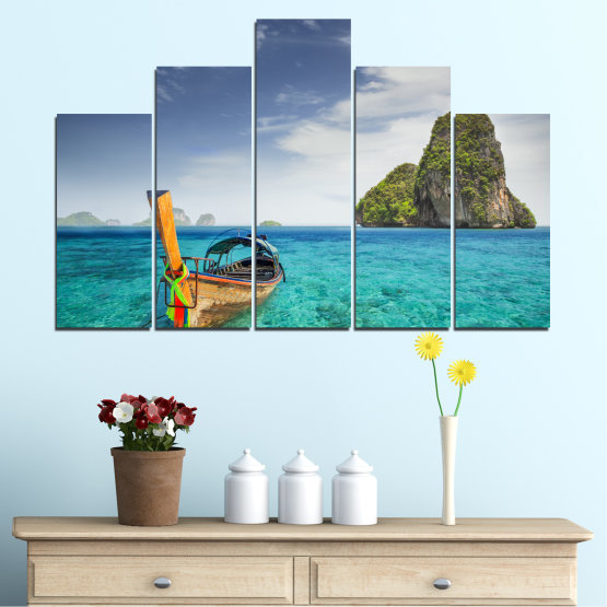 Canvas prints & wall decorative panels - 5 pieces №0133 » Blue, Turquoise, Gray, Dark grey » Sea, Sky, Ocean, Seaside, Rocks, Boat Form #5