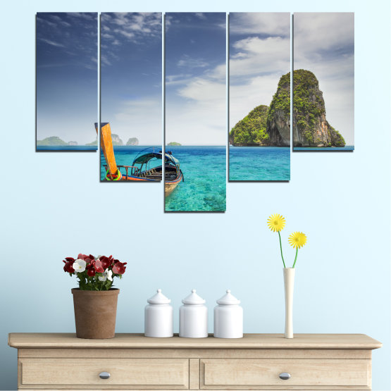 Canvas prints & wall decorative panels - 5 pieces №0133 » Blue, Turquoise, Gray, Dark grey » Sea, Sky, Ocean, Seaside, Rocks, Boat Form #6