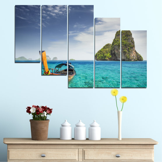 Canvas prints & wall decorative panels - 5 pieces №0133 » Blue, Turquoise, Gray, Dark grey » Sea, Sky, Ocean, Seaside, Rocks, Boat Form #7
