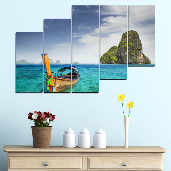 Canvas prints & wall decorative panels - 5 pieces №0133 » Blue, Turquoise, Gray, Dark grey » Sea, Sky, Ocean, Seaside, Rocks, Boat Form #8