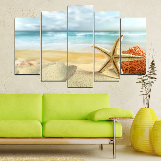 Canvas prints & wall decorative panels - 5 pieces №0134 » Gray, White, Beige » Sea, Sky, Summer, Island, Star, Coral, Sand Form #1