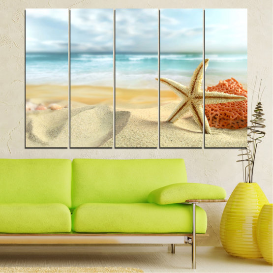 Canvas prints & wall decorative panels - 5 pieces №0134 » Gray, White, Beige » Sea, Sky, Summer, Island, Star, Coral, Sand Form #2