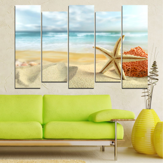 Canvas prints & wall decorative panels - 5 pieces №0134 » Gray, White, Beige » Sea, Sky, Summer, Island, Star, Coral, Sand Form #3