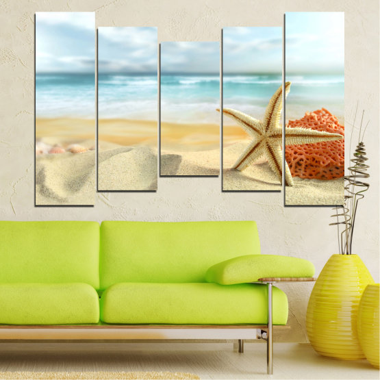 Canvas prints & wall decorative panels - 5 pieces №0134 » Gray, White, Beige » Sea, Sky, Summer, Star, Island, Sand, Coral Form #4