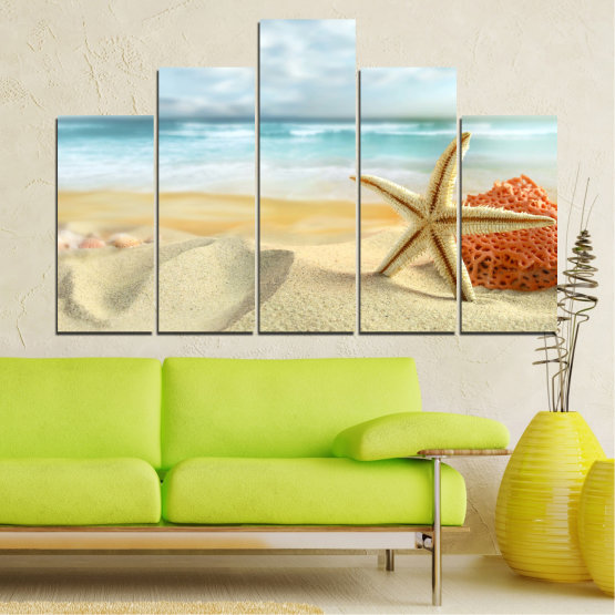 Canvas prints & wall decorative panels - 5 pieces №0134 » Gray, White, Beige » Sea, Sky, Summer, Island, Star, Coral, Sand Form #5