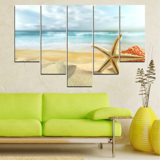 Canvas prints & wall decorative panels - 5 pieces №0134 » Gray, White, Beige » Sea, Sky, Summer, Island, Star, Coral, Sand Form #6