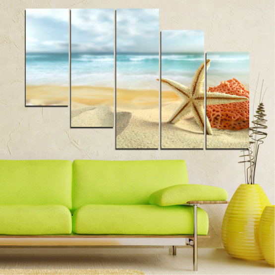 Canvas prints & wall decorative panels - 5 pieces №0134 » Gray, White, Beige » Sea, Sky, Summer, Island, Star, Coral, Sand Form #7