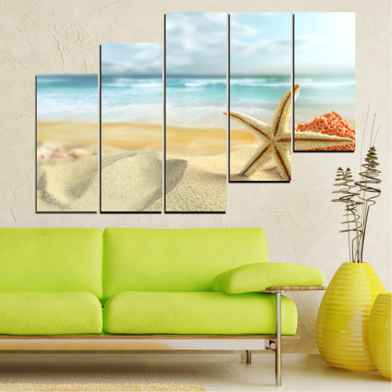 Canvas prints & wall decorative panels - 5 pieces №0134 » Gray, White, Beige » Sea, Sky, Summer, Star, Island, Sand, Coral Form #8