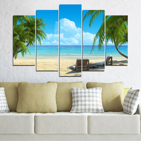 Canvas prints & wall decorative panels - 5 pieces №0135 » Blue, Turquoise, Green, Gray, Beige » Water, Landscape, Sea, Beach, Summer Form #1