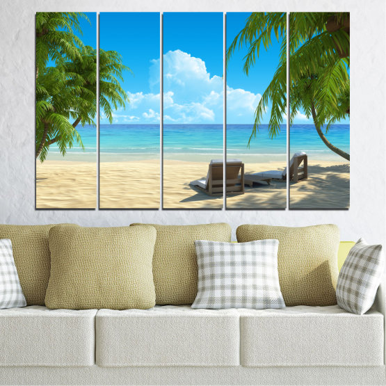 Canvas prints & wall decorative panels - 5 pieces №0135 » Blue, Turquoise, Green, Gray, Beige » Water, Landscape, Sea, Beach, Summer Form #2