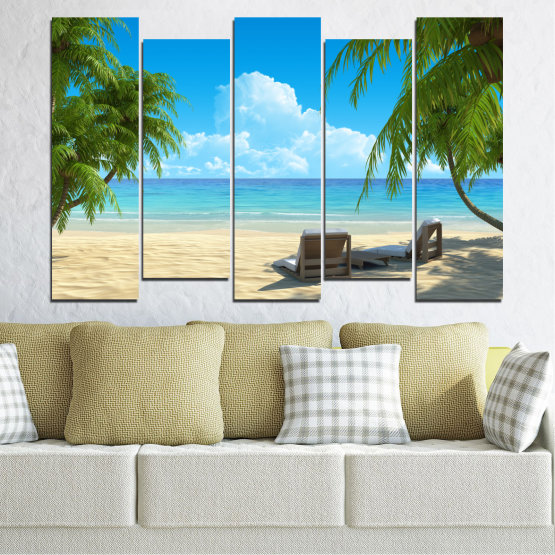 Canvas prints & wall decorative panels - 5 pieces №0135 » Blue, Turquoise, Green, Gray, Beige » Water, Landscape, Sea, Beach, Summer Form #3