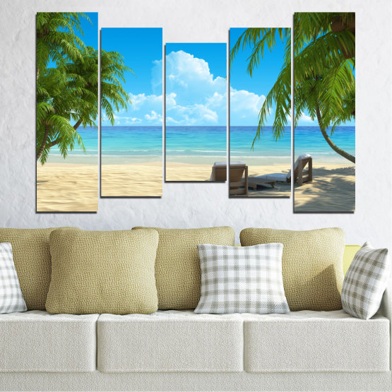 Canvas prints & wall decorative panels - 5 pieces №0135 » Blue, Turquoise, Green, Gray, Beige » Water, Landscape, Sea, Beach, Summer Form #4