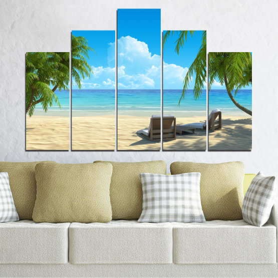 Canvas prints & wall decorative panels - 5 pieces №0135 » Blue, Turquoise, Green, Gray, Beige » Water, Landscape, Sea, Beach, Summer Form #5