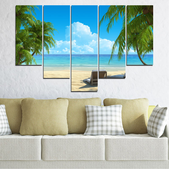 Canvas prints & wall decorative panels - 5 pieces №0135 » Blue, Turquoise, Green, Gray, Beige » Water, Landscape, Sea, Beach, Summer Form #6