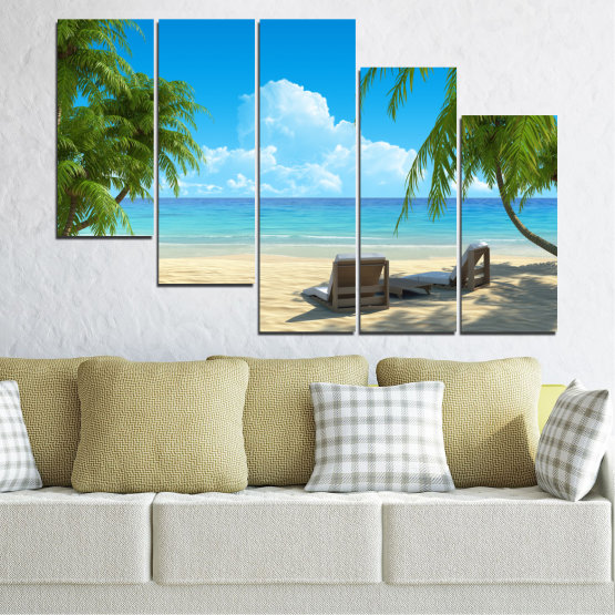 Canvas prints & wall decorative panels - 5 pieces №0135 » Blue, Turquoise, Green, Gray, Beige » Water, Landscape, Sea, Beach, Summer Form #7