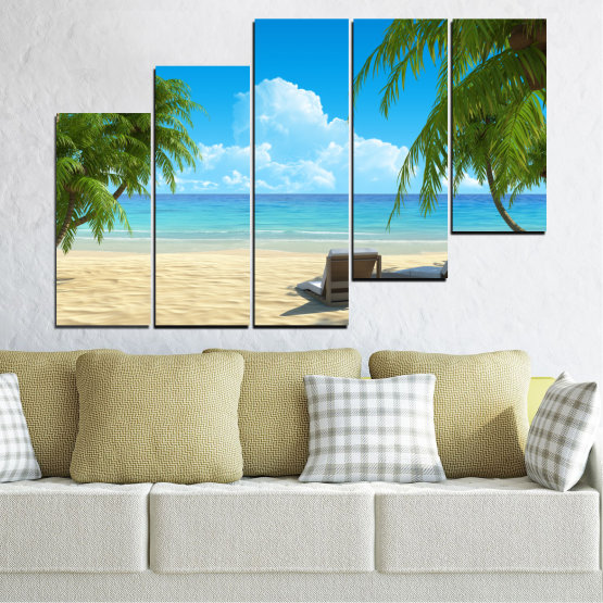 Canvas prints & wall decorative panels - 5 pieces №0135 » Blue, Turquoise, Green, Gray, Beige » Water, Landscape, Sea, Beach, Summer Form #8