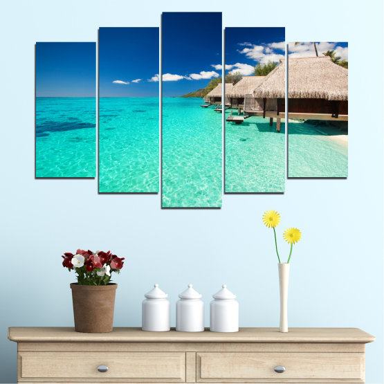 Canvas prints & wall decorative panels - 5 pieces №0136 » Blue, Turquoise, Gray, Dark grey » Ocean, Bay, Sky, Seaside, House, Palm Form #1