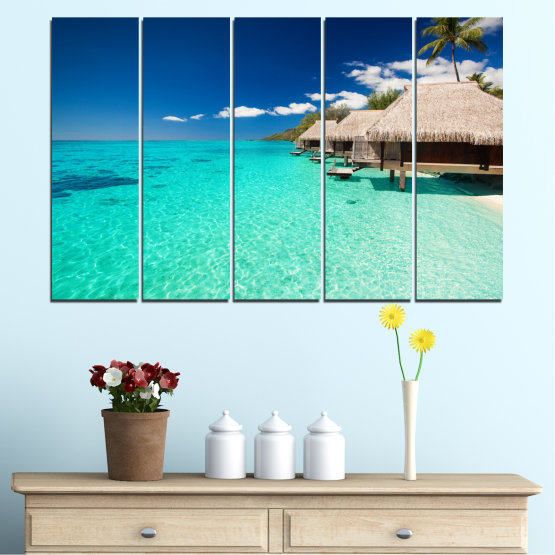 Canvas prints & wall decorative panels - 5 pieces №0136 » Blue, Turquoise, Gray, Dark grey » Ocean, Bay, Sky, Seaside, House, Palm Form #2