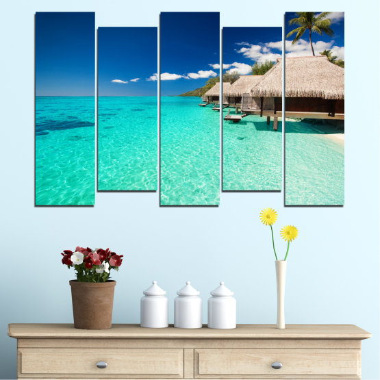 Canvas prints & wall decorative panels - 5 pieces №0136 » Blue, Turquoise, Gray, Dark grey » Ocean, Bay, Sky, Seaside, House, Palm Form #3