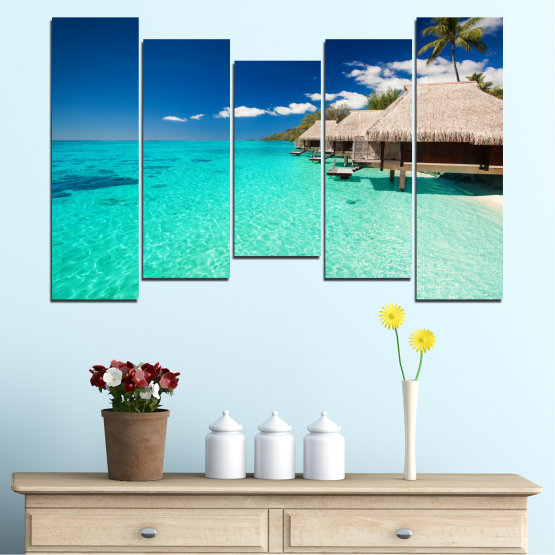 Canvas prints & wall decorative panels - 5 pieces №0136 » Blue, Turquoise, Gray, Dark grey » Ocean, Bay, Sky, Seaside, House, Palm Form #4
