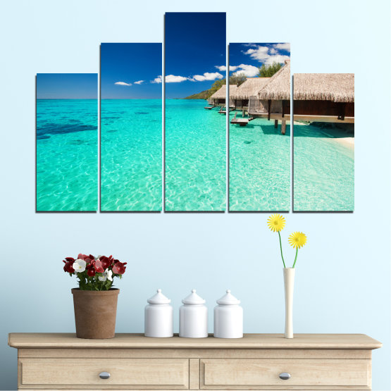 Canvas prints & wall decorative panels - 5 pieces №0136 » Blue, Turquoise, Gray, Dark grey » Ocean, Bay, Sky, Seaside, House, Palm Form #5