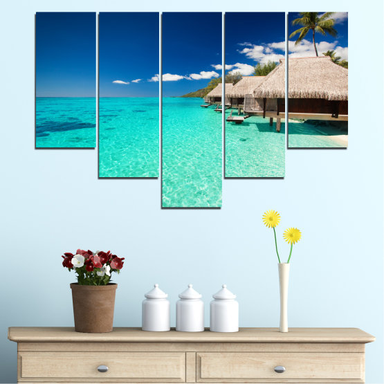 Canvas prints & wall decorative panels - 5 pieces №0136 » Blue, Turquoise, Gray, Dark grey » Ocean, Bay, Sky, Seaside, House, Palm Form #6