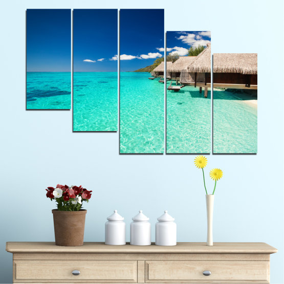 Canvas prints & wall decorative panels - 5 pieces №0136 » Blue, Turquoise, Gray, Dark grey » Ocean, Bay, Sky, Seaside, House, Palm Form #7