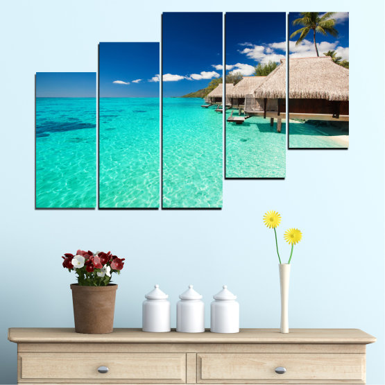 Canvas prints & wall decorative panels - 5 pieces №0136 » Blue, Turquoise, Gray, Dark grey » Ocean, Bay, Sky, Seaside, House, Palm Form #8