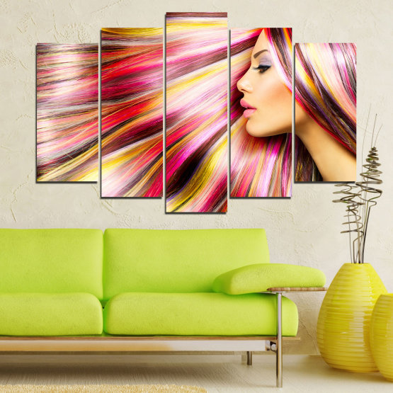 Canvas prints & wall decorative panels - 5 pieces №0137 » Red, Orange, Brown, Gray, Beige, Milky pink » Woman, Fashion, Hair, Hairstyle Form #1