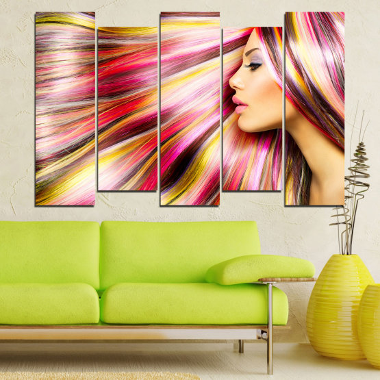 Canvas prints & wall decorative panels - 5 pieces №0137 » Red, Orange, Brown, Gray, Beige, Milky pink » Woman, Fashion, Hair, Hairstyle Form #3