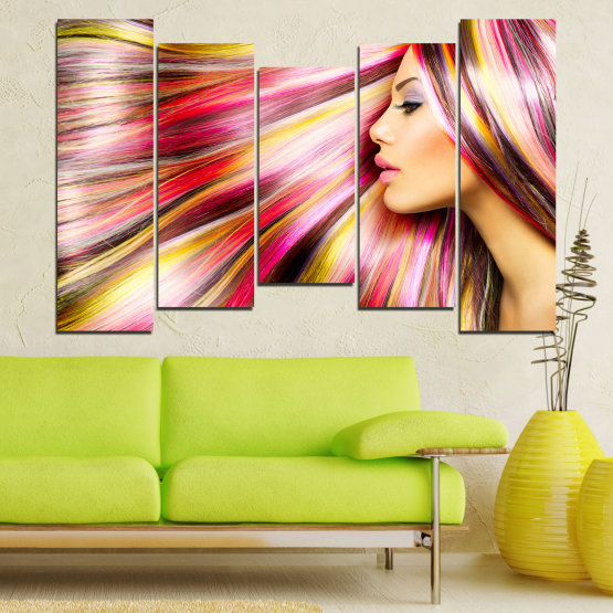Canvas prints & wall decorative panels - 5 pieces №0137 » Red, Orange, Brown, Gray, Beige, Milky pink » Woman, Fashion, Hair, Hairstyle Form #4