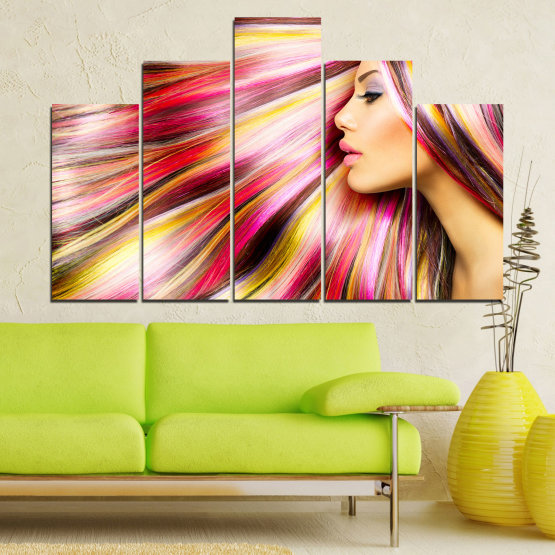 Canvas prints & wall decorative panels - 5 pieces №0137 » Red, Orange, Brown, Gray, Beige, Milky pink » Woman, Fashion, Hair, Hairstyle Form #5