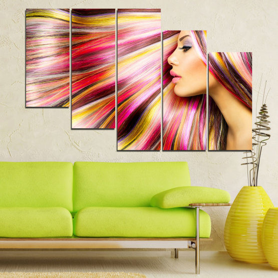 Canvas prints & wall decorative panels - 5 pieces №0137 » Red, Orange, Brown, Gray, Beige, Milky pink » Woman, Fashion, Hair, Hairstyle Form #7