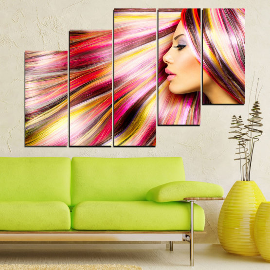 Canvas prints & wall decorative panels - 5 pieces №0137 » Red, Orange, Brown, Gray, Beige, Milky pink » Woman, Fashion, Hair, Hairstyle Form #8
