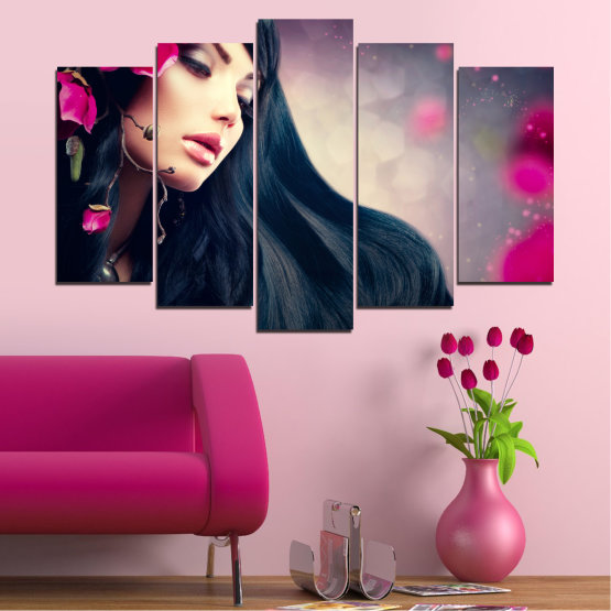 Canvas prints & wall decorative panels - 5 pieces №0138 » Red, Black, Gray, Beige, Dark grey » Woman, Fashion, Hair Form #1
