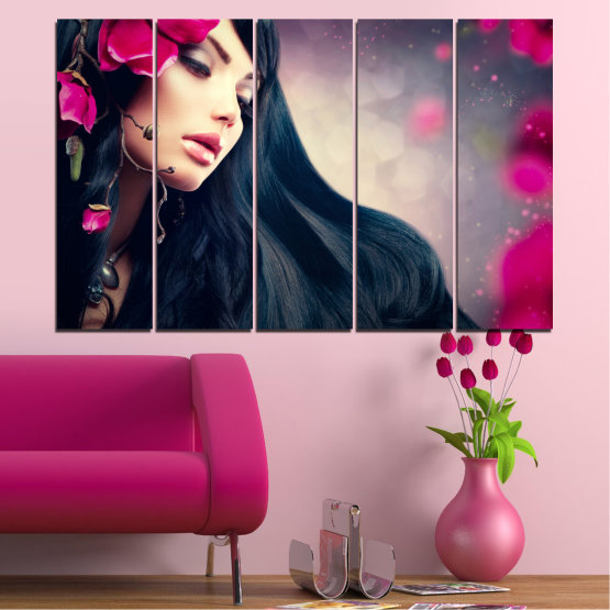 Canvas prints & wall decorative panels - 5 pieces №0138 » Red, Black, Gray, Beige, Dark grey » Woman, Fashion, Hair Form #2