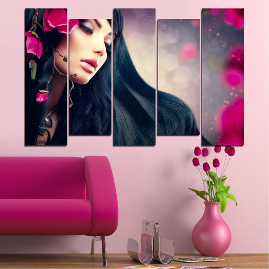 Canvas prints & wall decorative panels - 5 pieces №0138 » Red, Black, Gray, Beige, Dark grey » Woman, Fashion, Hair Form #3