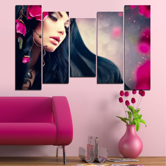 Canvas prints & wall decorative panels - 5 pieces №0138 » Red, Black, Gray, Beige, Dark grey » Woman, Fashion, Hair Form #4