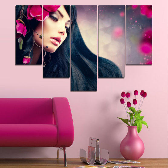 Canvas prints & wall decorative panels - 5 pieces №0138 » Red, Black, Gray, Beige, Dark grey » Woman, Fashion, Hair Form #6