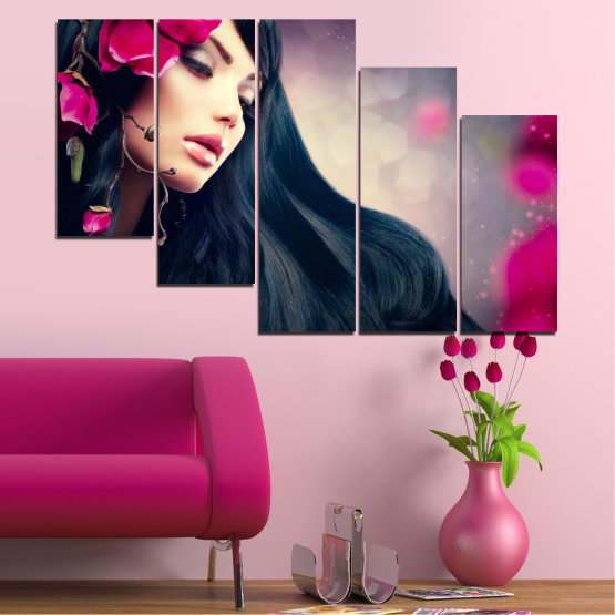 Canvas prints & wall decorative panels - 5 pieces №0138 » Red, Black, Gray, Beige, Dark grey » Woman, Fashion, Hair Form #7