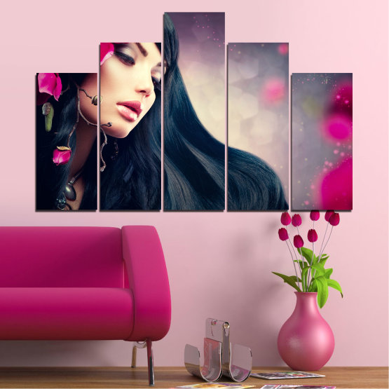Canvas prints & wall decorative panels - 5 pieces №0138 » Red, Black, Gray, Beige, Dark grey » Woman, Fashion, Hair Form #5