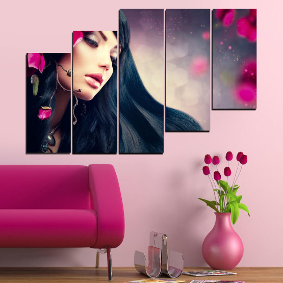 Canvas prints & wall decorative panels - 5 pieces №0138 » Red, Black, Gray, Beige, Dark grey » Woman, Fashion, Hair Form #8