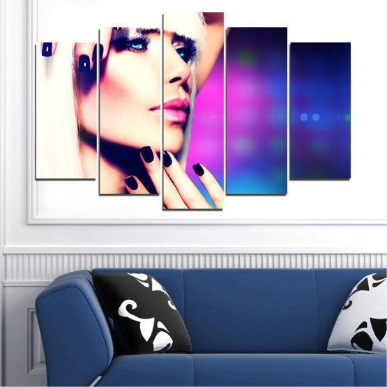 Canvas prints & wall decorative panels - 5 pieces №0139 » Blue, Black, White, Beige, Dark grey » Woman, Fashion, Nail Form #1
