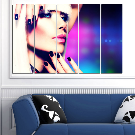 Canvas prints & wall decorative panels - 5 pieces №0139 » Blue, Black, White, Beige, Dark grey » Woman, Fashion, Nail Form #2